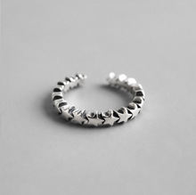 Vintage 100% S925 Sterling Silver Open Rings Star Elegant Ring Jewelry for Anniversary Adjustable Punk Woman Lady Gift s925 men s sterling silver rings personality retro classic punk style crusader flowers open ring send a gift to love