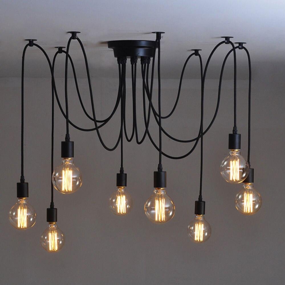 Us 32 75 37 offmordern nordic retro edison bulb light chandelier vintage loft antique adjustable diy e27 art spider ceiling lamp fixture light in