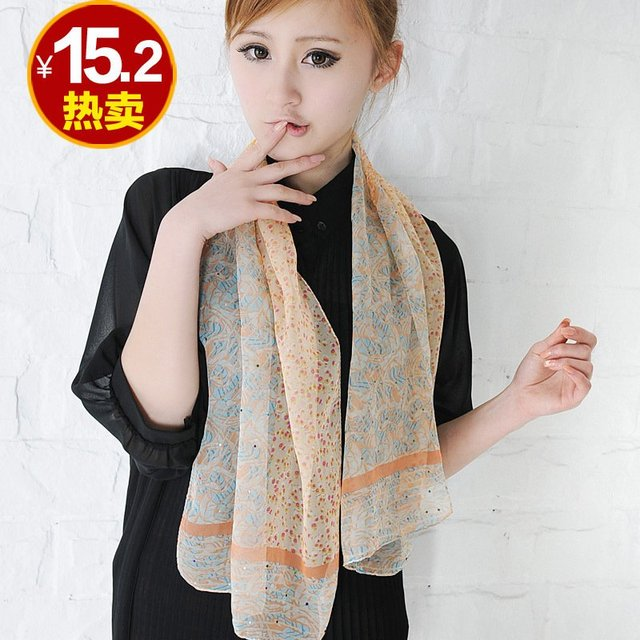 Summer new arrival Women chiffon small cravat long silk scarf with diamond sun scarf beauty