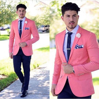 Pink Formal Tuxedos Fashion Men Suits 2 Pieces(Jacket+Pants+Tie+handkerchiefs) Custome Homme Terno Slim Fit Wedding Party Prom