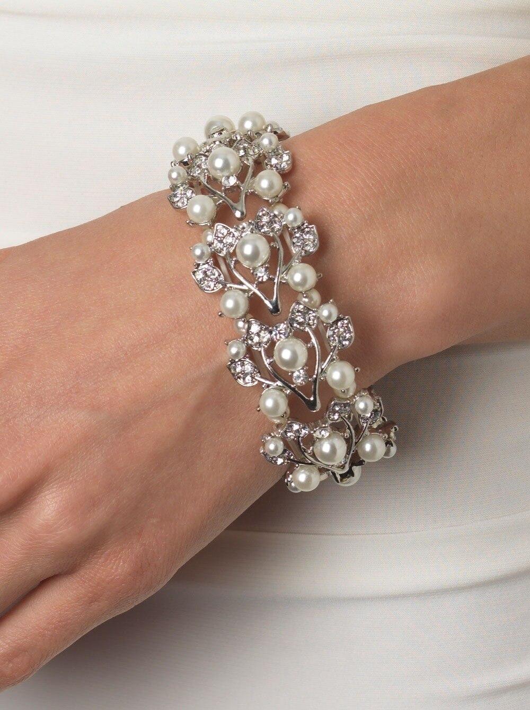 Vintage styl Rhodium postříbřený čirý drahokamu křišťálový diamante krém Pearl květinové náramek svatba