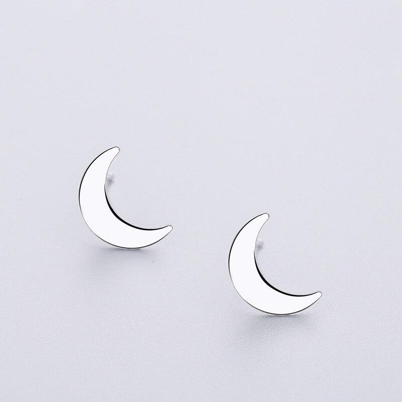 INZATT Punk Moon Stud Earrings Minimalist Geometric Shape 925 Sterling Silver For Women Birthday Party Fine Jewelry Accessories