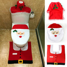 3pcs/set Christmas Decorations Happy Santa Toilet Seat Cover and Rug Bathroom Set