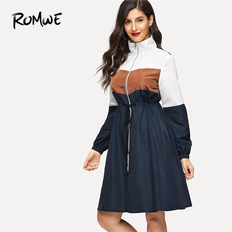 ROMWE Drawstring Waist Color Block Zip Up Coat 2019 Women Blue Zipper Spring Autumn Long Sleeve Knee Length Flared Outer