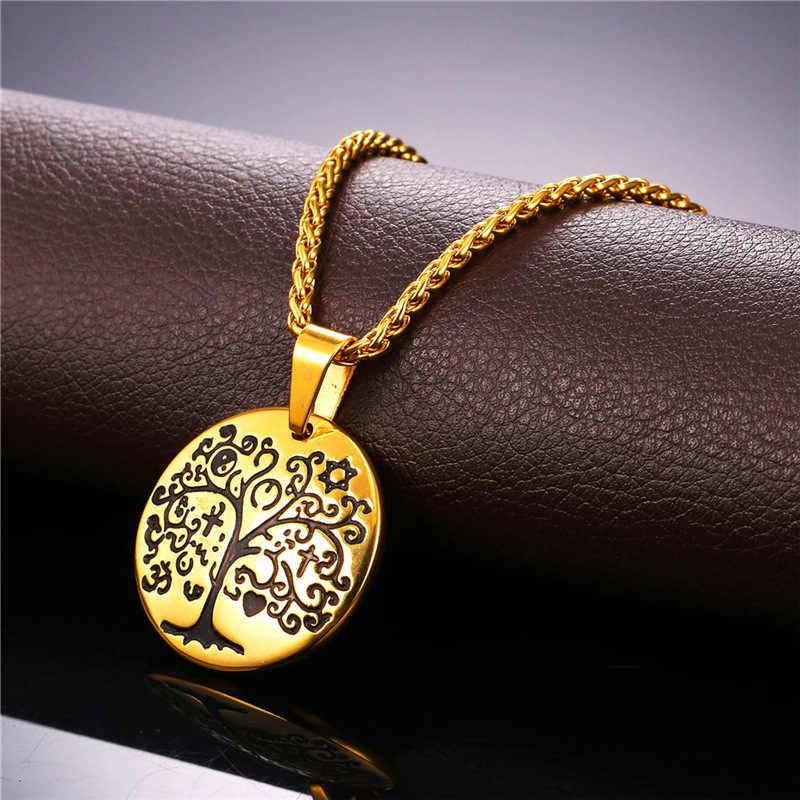 Collareต้นไม้แห่งชีวิตสร้อยคอและจี้สีทองสแตนเลสขายส่งโชคดีสร้อยคอผู้หญิงผู้ชายเครื่องประดับP054