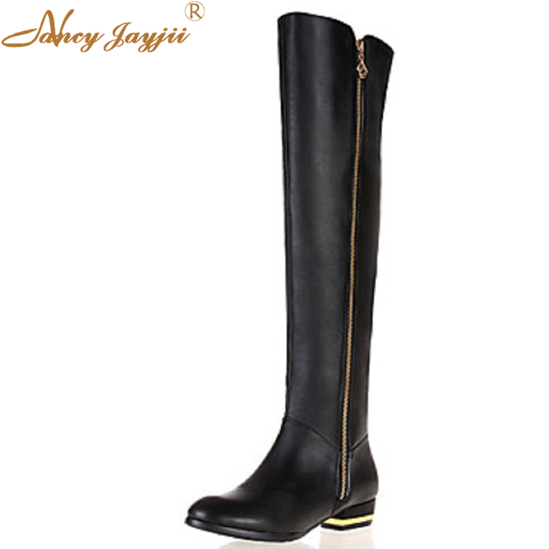 Nancyjayjii Sexy Waterproof Women Flat Heels Shoes Woman Zapatos Low Platform Heel Wedges Casual Knee High Boots,Large Size large size 8cm high 2016 women casual canvas shoes woman platform wedges high top with zippers ladies zapatos mujer espadrilles