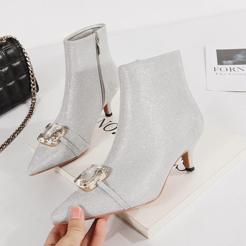 Sexy Crystal Silver Kitten Med Heels Ankle Boots Women Wedding Shoes Fall Winter 2018 Glitter Bling Short Martin Boots Ladies