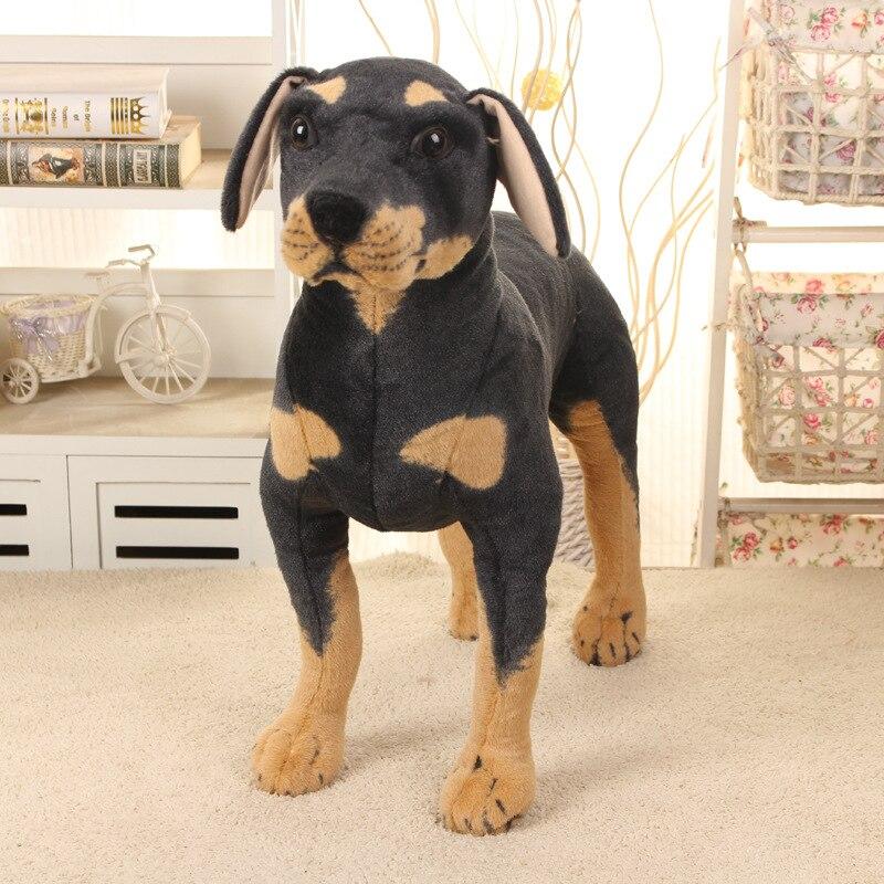 Grande nouvelle simulaiton Rottweiler peluche chien jouet belle permanent noir chien poupée cadeau sur 60x60 cm