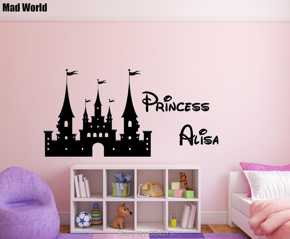 Personalized Princess Castle Custom Name Wall Art Stickers Wall Decals Home DIY Decoration Removable Room Decor Wall Stickers