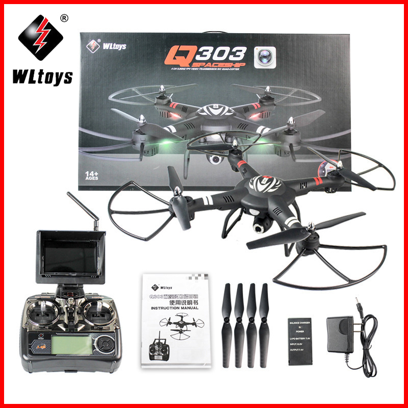 WLtoys Q303 Professional RC Drones Quadcopters 2.4GHz 4CH 6 Axis Fixed-height Mode RC Quadcopter RTF Aircraft With Camera Drones jjrc h12c 2 4g 4ch 6 axis gyro cf mode one press return rtf rc quadcopter professional drones with 1080p 5 0mp camera hd