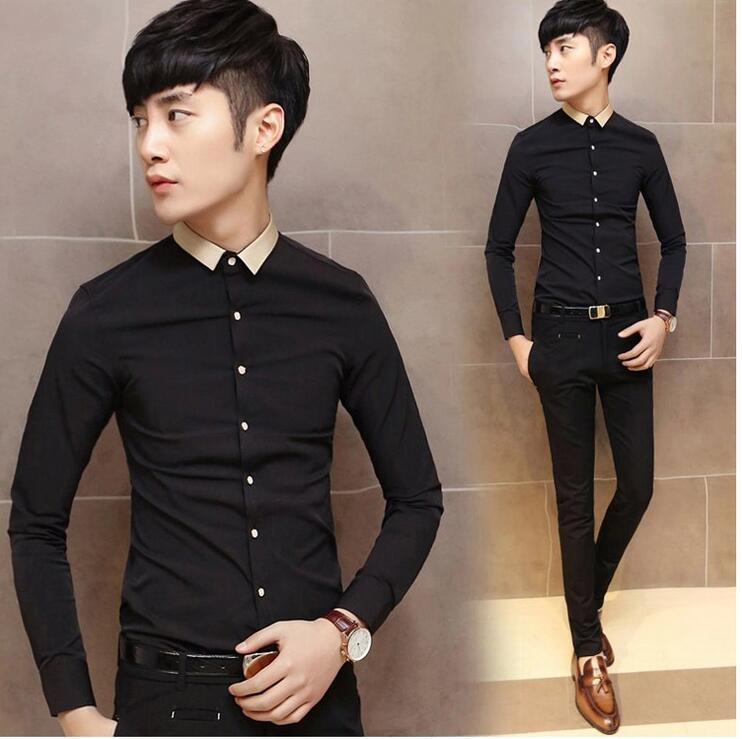 2016 New Autumn Fashion Brand Men Clothes Slim Fit Men Long Sleeve Shirt Men Casual Men Shirt Social Plus Size