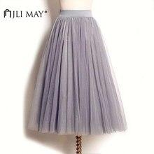 1ef9e270920 JLI MAY длинная Тюлевая юбка для взрослых Свадебная Макси 3 слоя черный  белый эластичный плиссированный сетчатый