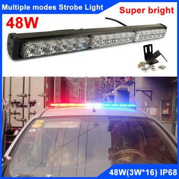 Super Bright 54W(18*3W) Multi-Mode Strobe Police Warning Lights Roof Grille Led Light Bar 12V DRL Strobe Parking Light Bar