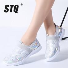 Tênis feminino de malha respirável stq, sapatos baixos para mulheres, slip on, loafers, tamanhos grandes, outono 2020 7698