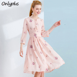 ONLY PLUS S-XXL Floral Embroidered Dress Chiffon Pink a line dresses for Women Bow Tassel Style Casual Party Dresses 2018