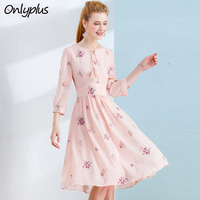 ONLY PLUS S XXL Floral Embroidered Dress Chiffon Pink A Line Dresses For Women Bow Tassel