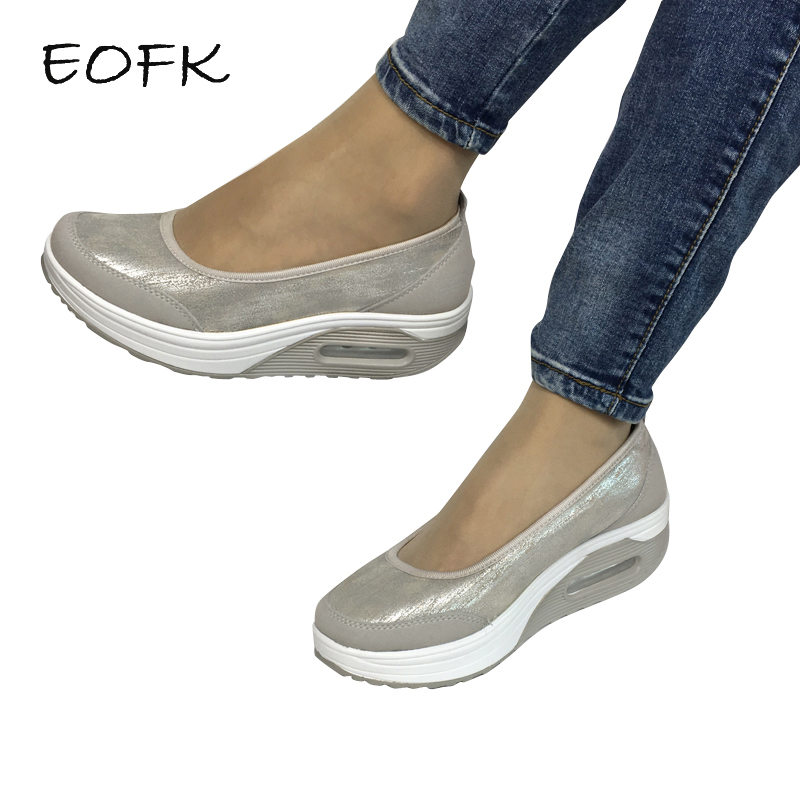 EOFK Women Flat Platform Shoes Woman Moccasin zapatos mujer platform sandals Slip On For Ladies Shoes Casual Flats Moccasins
