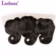 Luduna 13*4 Ear To Ear Lace Frontal Closure Loose Wave With Baby Hair Peruvian Hair 8-20inch Non-remy Human Hair Free Shipping