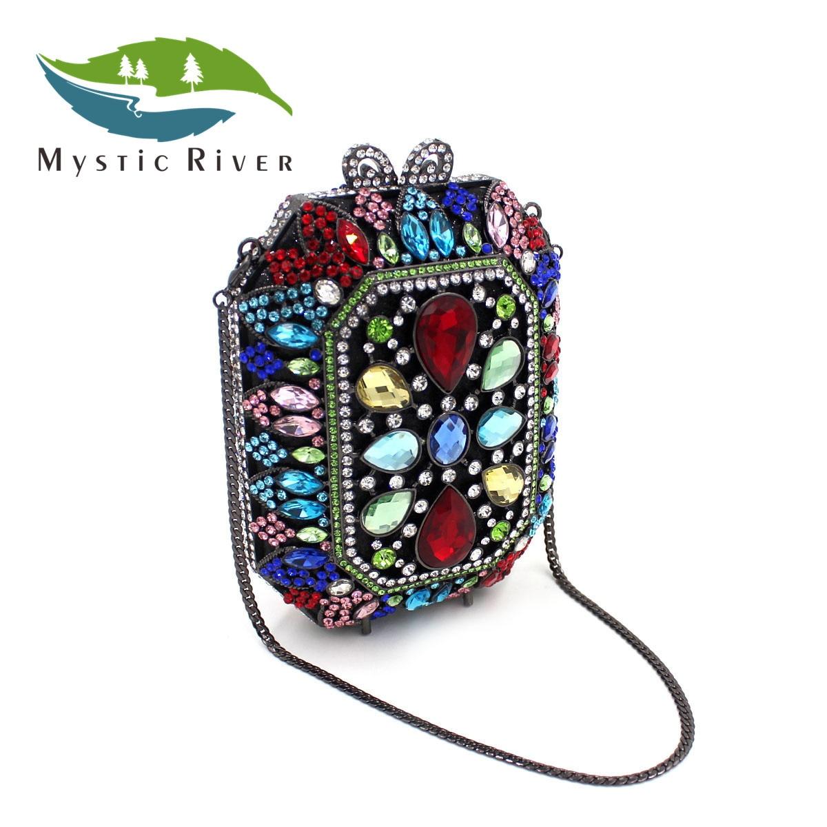 Mystic River Mujeres Beatles Forma Noche Bolsos de Las Señoras de Cristal Embrag