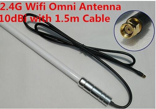 2.4G al aire libre base antenna10dBi wifi higi ganancia de antena de fibra de vidrio 1.5 m RG58 cable SMA