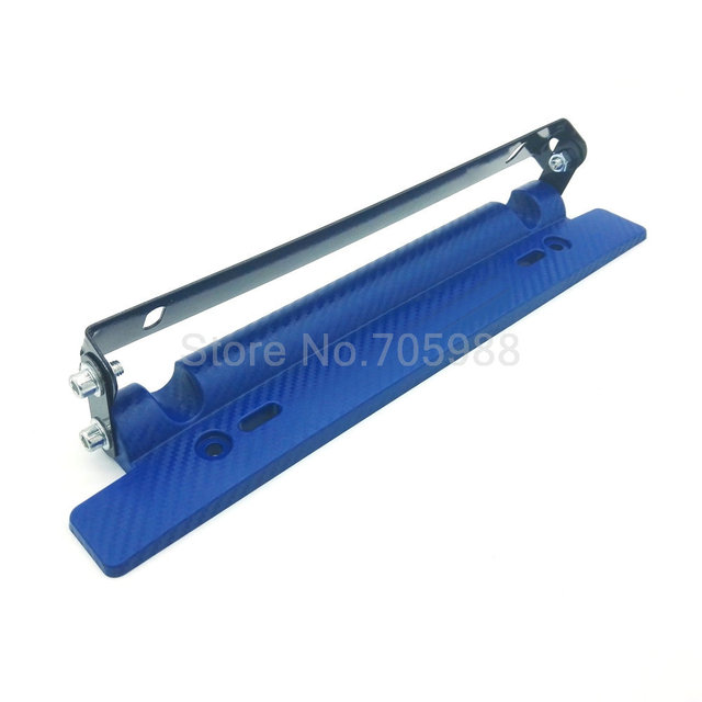 Adjustable Auto Carbon Fiber number License Plate Relocator Frame Bracket Holder BLUE