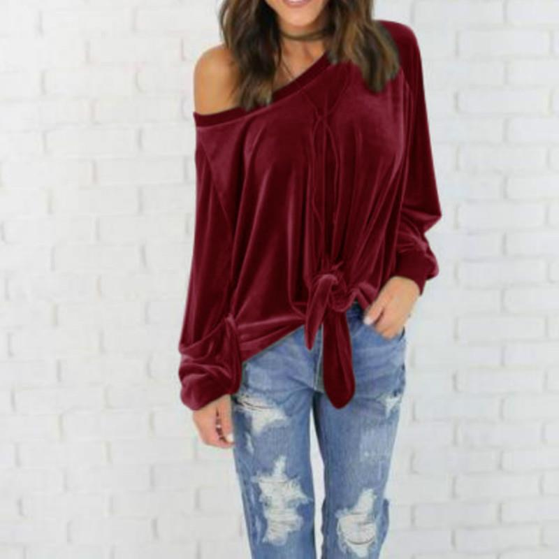 2017 Women Velvet Blouses Long Sleeve Off Shoulder Shirt Sexy Loose Blouse Shirts Tops Femme Blusas Plus Size Clothes LJ8003X in Blouses amp Shirts from Women 39 s Clothing