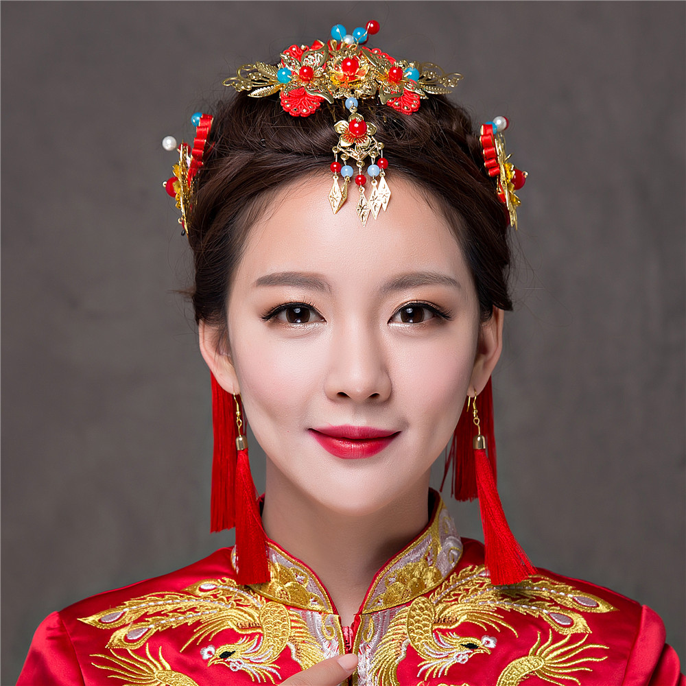 New Vintage Chinese Traditional Bridal Headdress Tassels