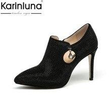 66e212528 KarinLuna 2018 Primavera Outono Marca Material Especial Profunda Bombas  Sapatos Mulher Moda sapatos de Salto Alto Mulheres Sapat.