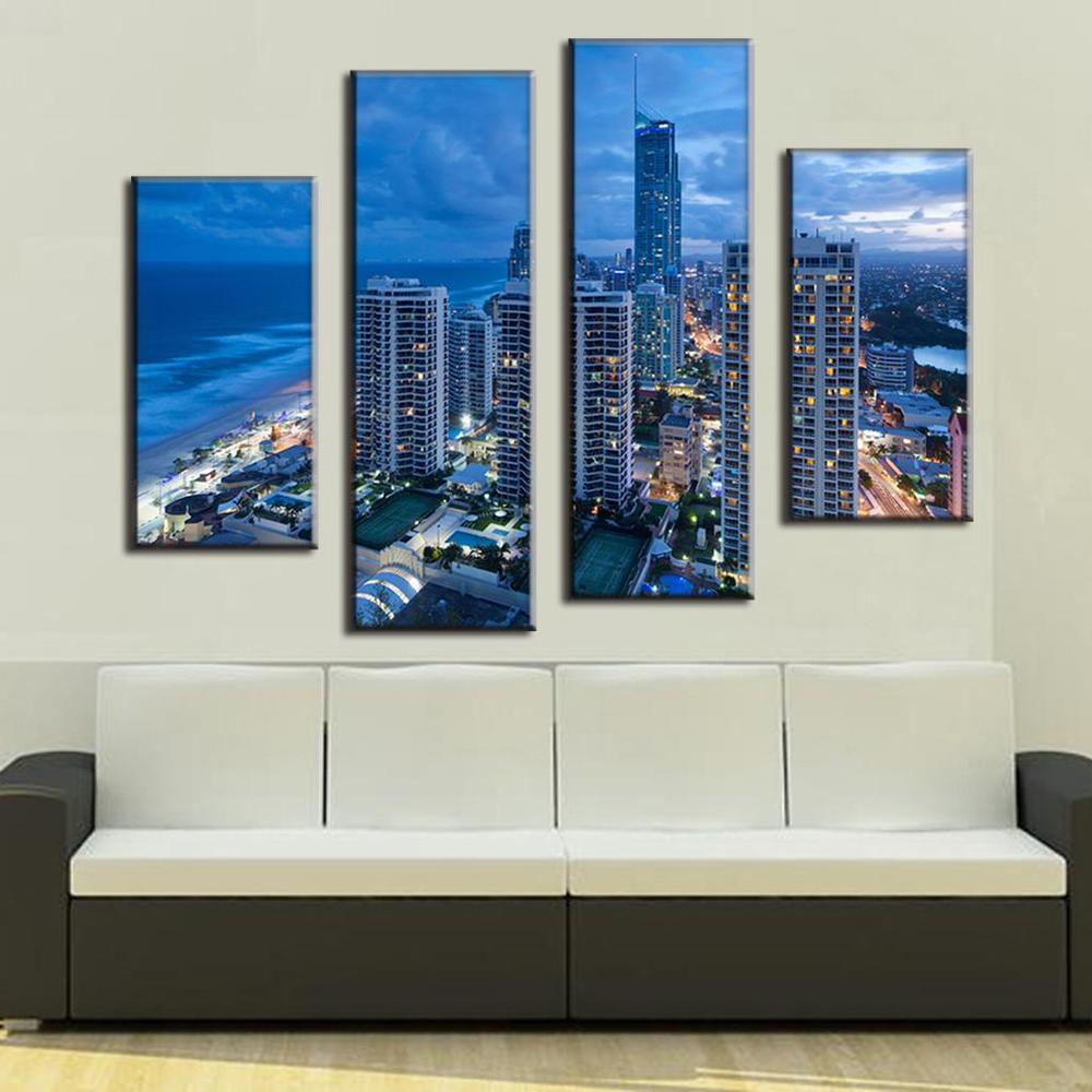 top fashion sale 4 pcsset canvas wall art picture landscape painting coastal cityscape - Cheap Canvas Wall Art