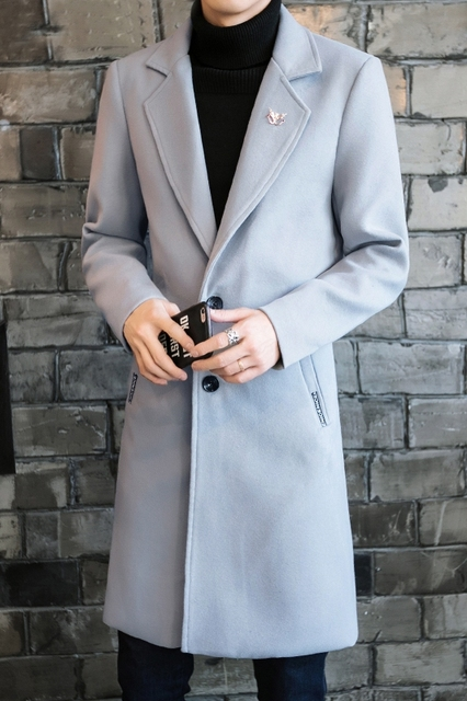 2019 New Winter Wool Traneh Mens Casual Long Section Woolen&Blends Men's Pure Color Casual Fashion Jackets Brend Men Overcoat