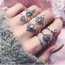 Фотография Bling-world New 7pcs/Set Women Bohemian Vintage Silver Stack Rings Above Knuckle Blue Rings Set je30