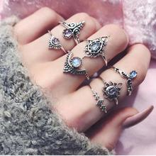 Women Rings New Fashion 7pcs/Set Bohemian Retro Silver Charm Rings Above Knuckle with Clear Rhinestone Delicate Jewelry Nov30