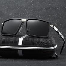 Sunglasses Men Metal Hinges Brand Designer Women Polaroid lens Square Polarized Sun Glasses With Original case