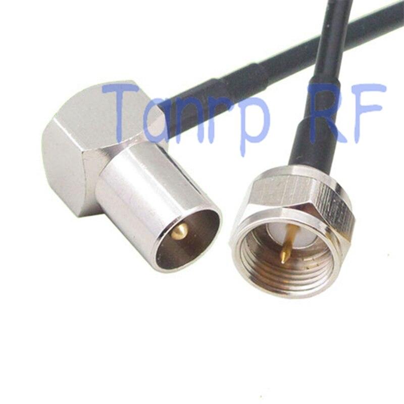 6-дюймовая штепсельная Вилка для ТВ с прямым углом к F штепсельной вилке RF коннектор адаптер 15 см коаксиальный Соединительный кабель RG174