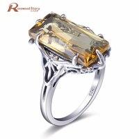 Prawdziwa Czysta Oryginalna Solidna 925 Sterling Silver Ring Fine Jewelry dla Kobiet Koreański Mody Żółty CZ Love Ostrze Luksusowa Biżuteria