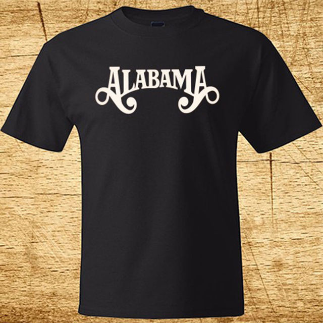 New ALABAMA Country Band Logo Men's Black T Shirt Size S 2XL 100% Cotton  100% Cotton Short Sleeve O Neck Tops Tee T Shirts-in T-Shirts from Men's