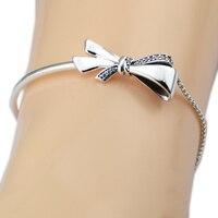 Fandola Bracelets & Bangles Brilliant Bow Silver Bracelets for Women 100% 925 Sterling Silver Fashion Europe Jewelry Wholesale