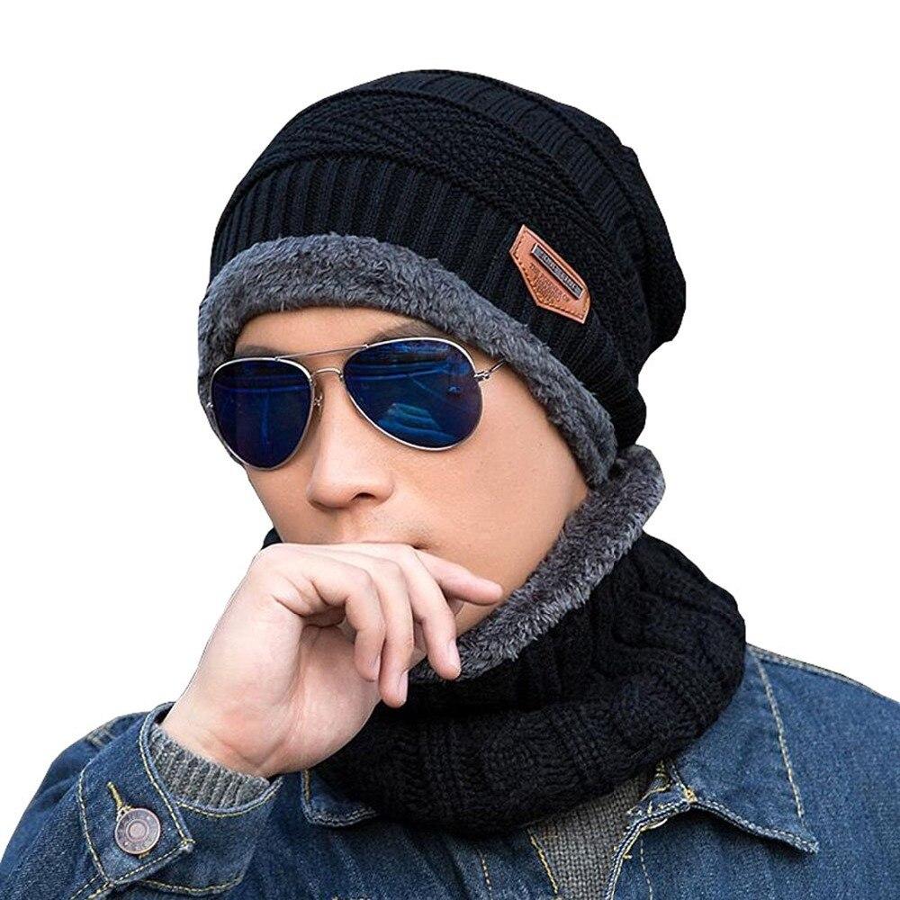Men Women Winter Hat and Scarf Set for Knitted Cap Male  Warm Fleece Skullies Beanies Wool Balaclava Mask Gorros