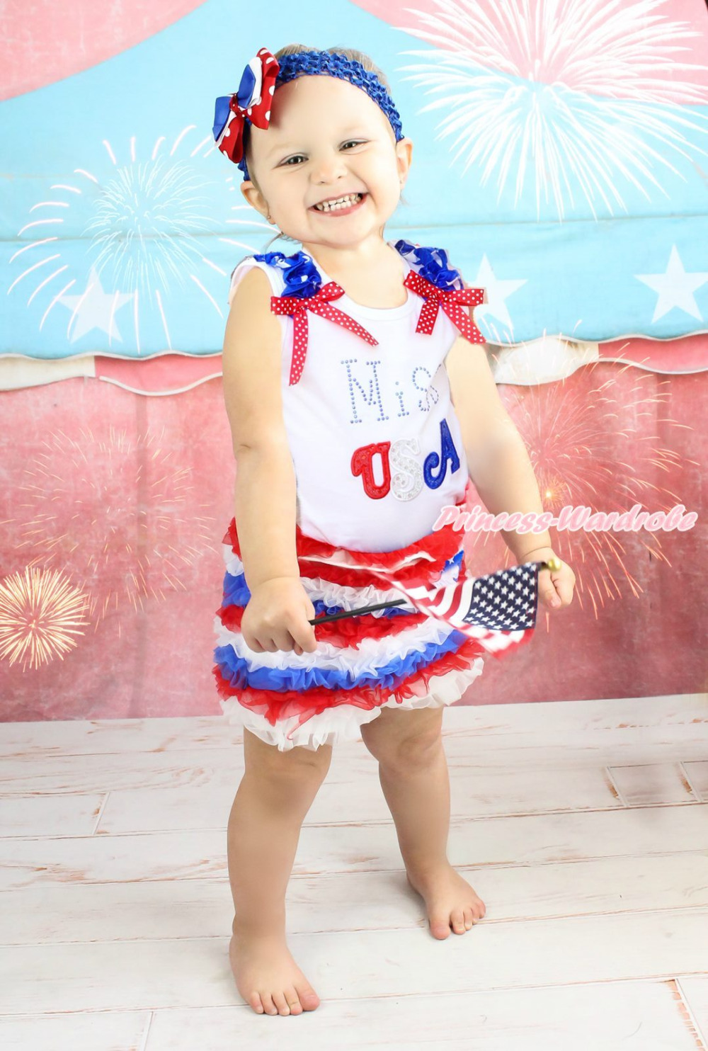 4th July Patriotic Star Miss USA White Top Red White Blue Ruffle Pants Set 1-8Y MAPSA0829