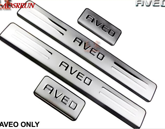 for Chevrolet <font><b>Aveo</b></font> 2011 2012 <font><b>2013</b></font> 2014 2015 2016 stainless steel threshold door sill scuff plate AUTO accessories car-styling image