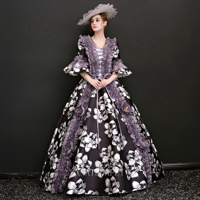 long flare sleeve flower printing ruffled venice carnival queen ball gown medieval dress Renaissance Gown Victoria/Antoinette