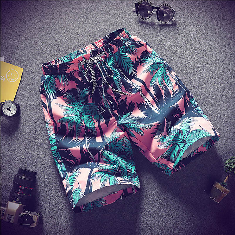 2019 Summer Casual Shorts Men Trousers Male Camouflage Fashion Flowers Print Straight Short Beach Mens Short Free Shipping