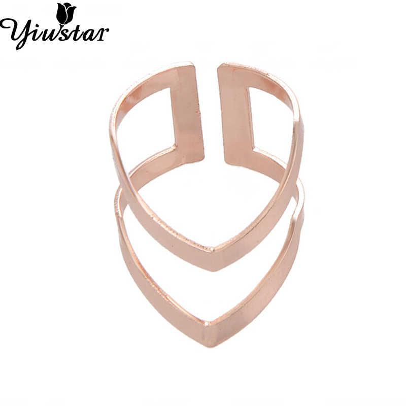 Yiustar anillo de letra de moda doble alfabeto mujeres Anillos Bobo estilo punk geométrico V dedo Bague joyería para mujer hombres Anillos regalos