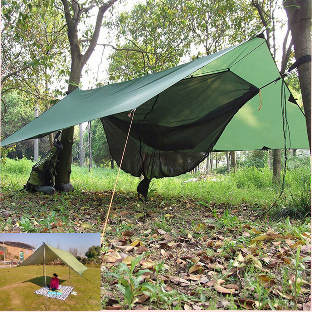 Portable Waterproof Rain Cloth Sun Shade Tarp Tent Lightweight Shelter 300*300cm 10pcs outdoor hiking portable folding the rain and sun lightweight silver aluminum pet film first aid tent