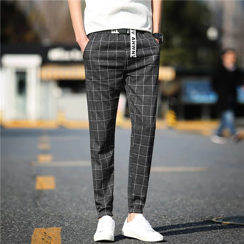Men Spring And Autumn Fashion Brand Korea Style Vintage Plaid Letter Print Ankle-length Pants Male Casual Harem Pants Trousers