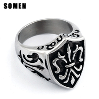 New Biker Shield Of The Templar Stainless Steel Mens Ring Finger Band Size 8 13 Free