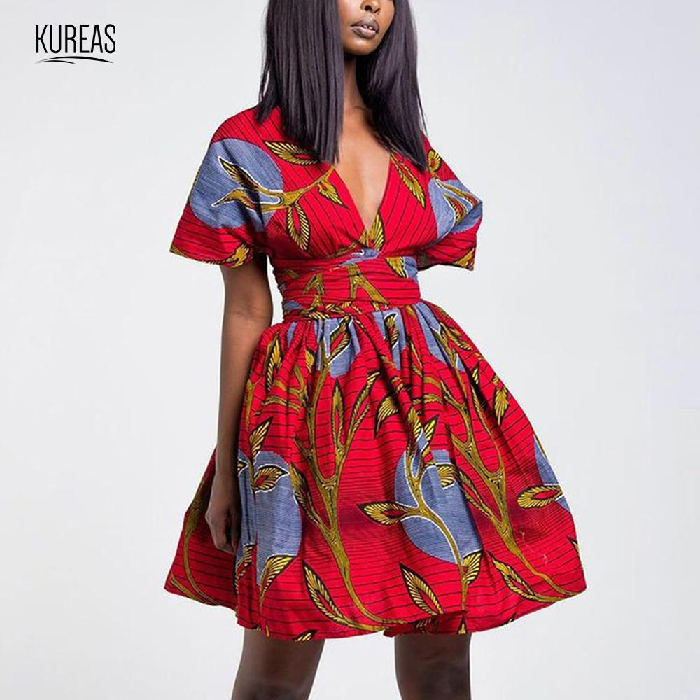 Kureas Women Clothing Summer Dress African Clothes Dashiki Mini Dresses Short Sleeve Tribal Vintage Vestidos With Waistband