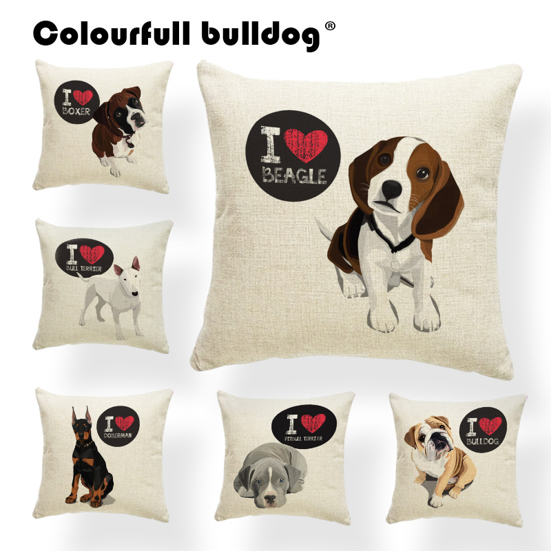 Cartoon Dog Cat Pillow Cushions Bulldog Beagle Boston Terrier Boxer Dog Throw Pillows Doberman Chihuahua Decor Polyester Blend Собака