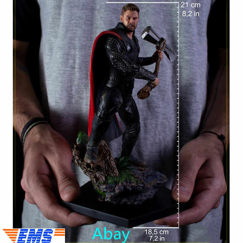 "8"" Avengers: Endgame Thor Hammer Thor Odinson Superhero Journey into Mystery Statue 1/10 Scale RESIN Action Figure Toy BOX J236"