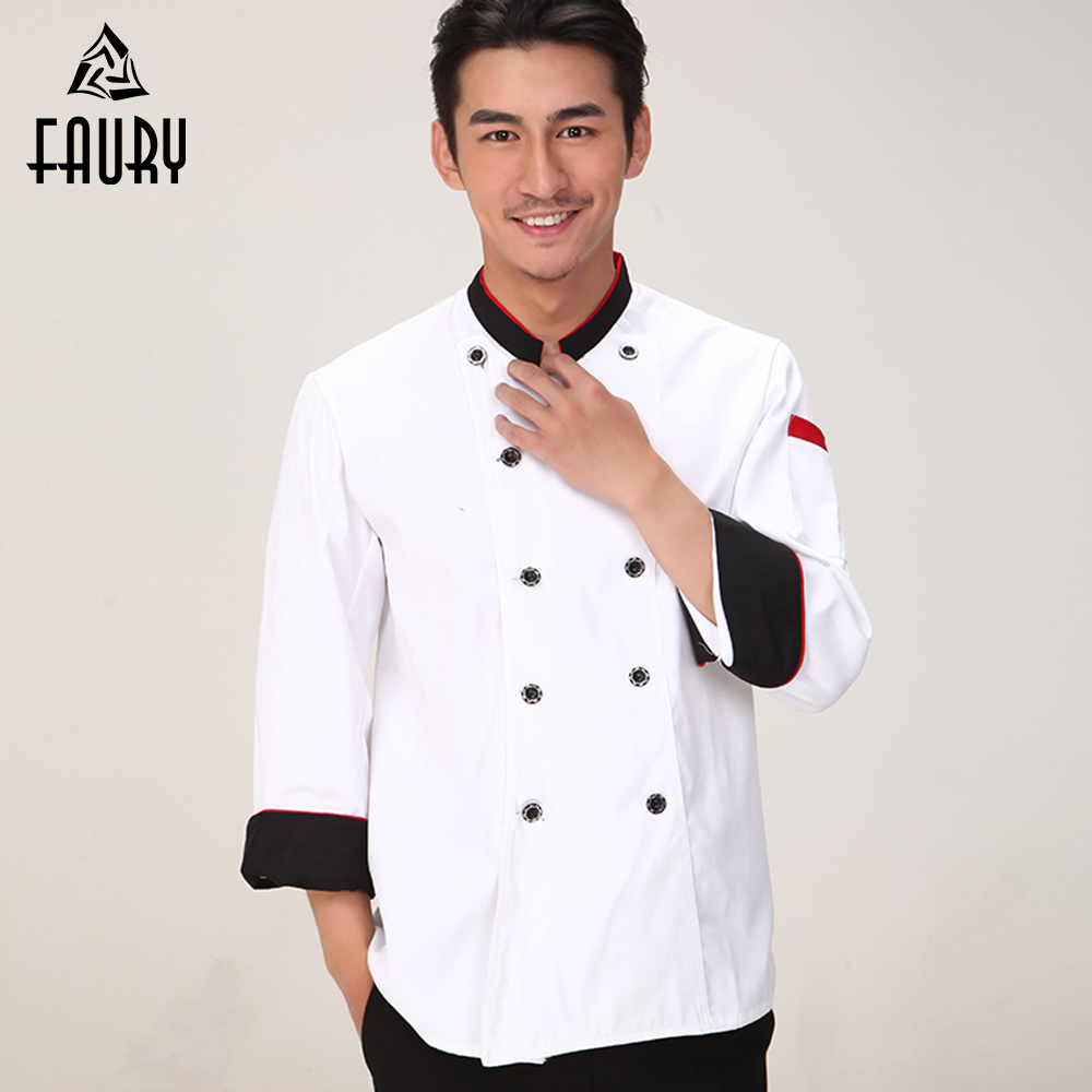 High Quality Chef Jacket Food Service Women Men Spliced Stand Collar Cuffs Long-sleeve Kitchen Work Wear Cooking Uniform & Apron